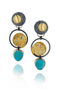ER–141: oxidized sterling silver, 14k,18k,24k gold, 2.5 X .50 inches