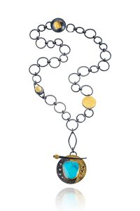 NKL–91: Oxidized sterling silver, 18k, 24k gold, Turquoise,2.0mm Diamonds, 2.5 Yellow Sapphire,, pendant 1.50 inches, adjustable chain 24 inches. SOLD