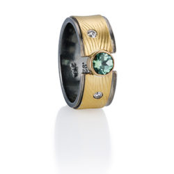 "RG–32: Green Tourmaline,1.5mm diamonds. 18k, 24k gold. Size 7.0. $940.00 [add_to_cart id=""769""]"