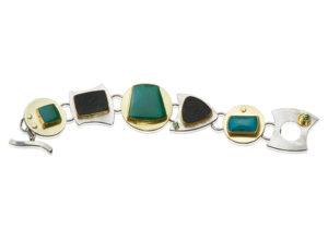 BR–9: Chrysocolla, green tourmaline, Wyoming black jade, 22k, 18k gold, sterling silver, size 8 bracelet. SOLD