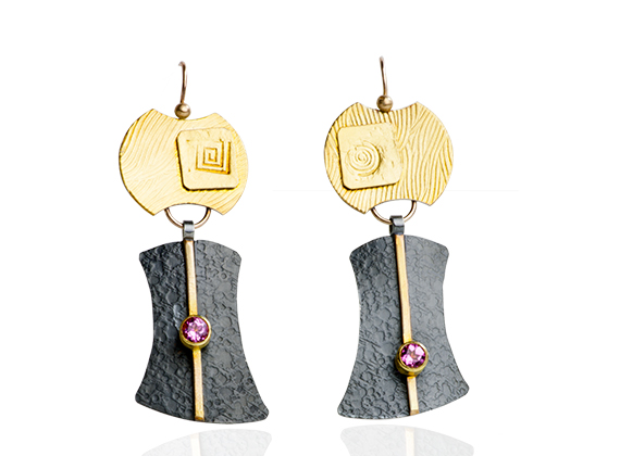 "ER–102: 22k, 18k, 14k gold, Pink Tourmaline, oxidized sterling silver 1 ¾ inches long. $425.00 [add_to_cart id=""751""]"