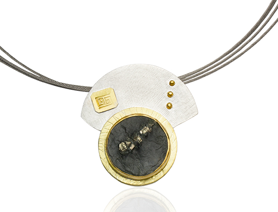 NKL–87: Natural pyrite, 18k, 24k gold, sterling silver, multi strand stainless steel cable 19 inches. SOLD