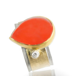 """R–24: Indonesian orange chalcedony, 24k gold, sterling silver, size 7 ½. $1450.00 [add_to_cart id=""""767""""]"""