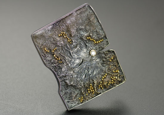 BRPN-1-Oxidized reticulated silver, 22k gold, 2mm diamond. Brooch may be worn as a pendant. 1.75 inches long by 1.25 inches wide. SOLD