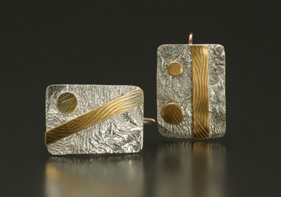 ER–10: Reticulated silver, 18k gold on silver, 14k gold 1.0 inch long by .5 inch wide.