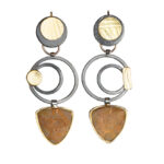 ER–120: Oxidized sterling silver, agate,18k, 14k gold. 2.25 inches x .75 inches. SOLD