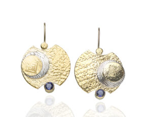 "ER–130: 24k, 14k gold, sterling silver, 4mm Iolite. 1.50 inches x 1.0 inch. $550.00 [add_to_cart id=""753""]"