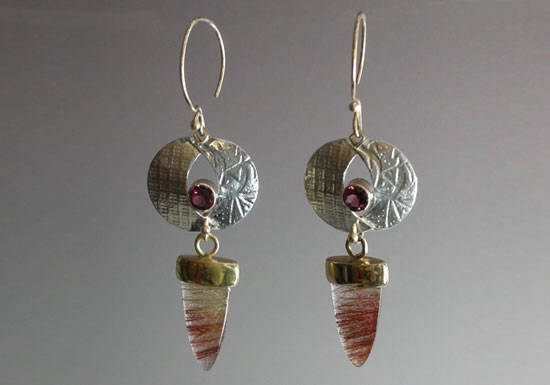 ER–16: Sterling silver, 14k, 18k gold, rutilated quartz, amethyst, 2.5 inches long by .75 inch wide. SOLD