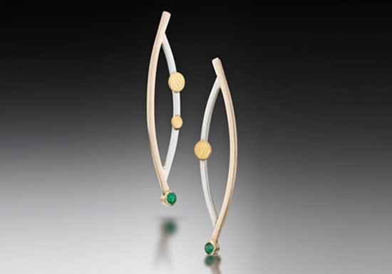 ER–17: 14k, 18k gold on silver, sterling silver tsavolite earrings, 2.0 inches long.