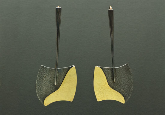 ER-19B- Oxidized silver, 18K, 14K gold, 2.25 inches long by 1.0 inch wide.