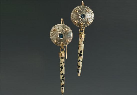 ER–1: Dalmation jasper, blue topaz, sterling silver, 14K gold, 2.5 inches long. SOLD