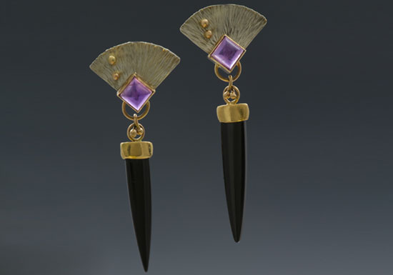 ER-2-Black onyx, amethyst, sterling silver, 14k, 18k gold, 2.5 inches long.