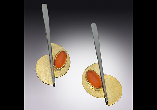 ER-43-Carnelian earrings, 18k & 14k gold, oxidized sterling.