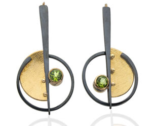 ER–44:Oxidized silver, 24k, 18k,14k gold, 4.5mm peridot. 2.75 x 1.0 inches. SOLD. $550.00