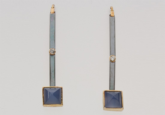 ER-45-Blue chalcedony earrings, 18k & 14 gold, oxidized sterling silver, 2.50mm diamonds.