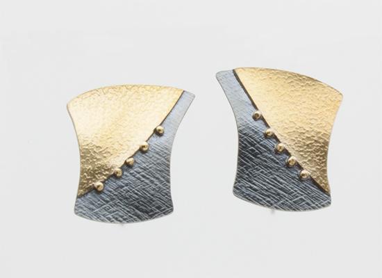 """ER–47: Earrings, Oxidized sterling silver, 18k gold, 14k gold ear wire. 1.25"""" long."""