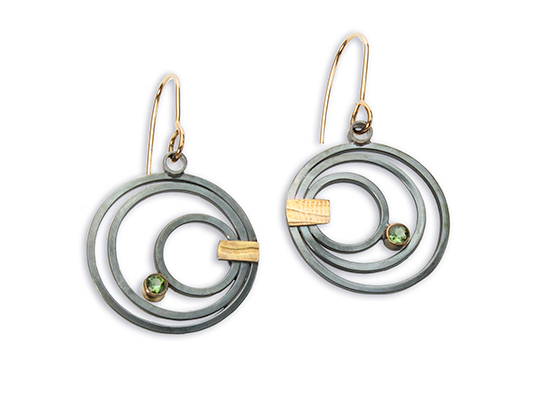 ER–61: Oxidized silver, 22 & 14k gold, peridot, 1.0 x 1.75 inches. SOLD. $300.00