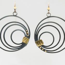 "ER–66: Oxidized silver, 22 & 14k gold, 3 inches in diameter. $200.00 [add_to_cart id=""756""]"