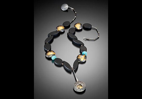 NKL–2: Black onyx oxidized silver, 18k, 14k gold, green sapphire, Peruvian Opal Necklace 19 inches long. SOLD