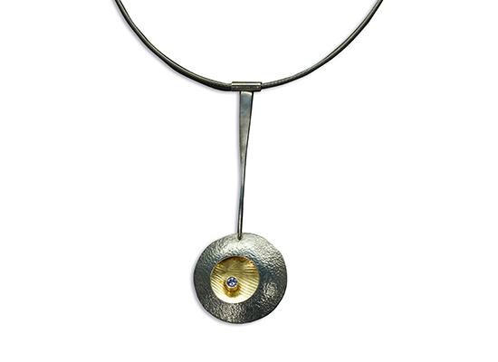 NKL-15B- Oxidized silver, 18k gold, 2.0mm tanzanite 19 inch fine silver cable.