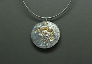 NKL–1: Oxidized silver, 18k gold granulation on silver, 3.0 mm diamond, fine silver cable 19 inches long.SOLD