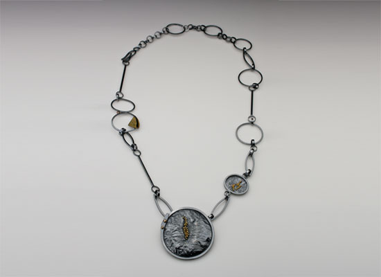 NKL-26-Oxidized reticulated silver, 18k gold granulation, pendant 2.75 inches by 2.75 inches, chain 26 inches.