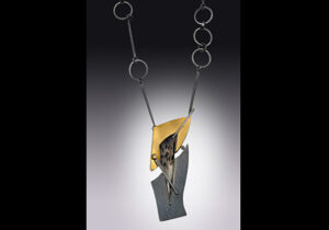NKL–50: Moss Agate, oxidized sterling silver, 18k gold necklace. SOLD