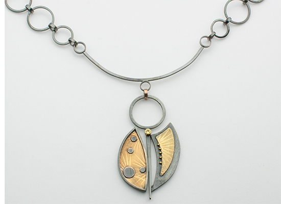 "NKL-53-Necklace, Oxidized sterling silver, 18k gold, Yellow Sapphire, 22"" chain."