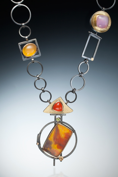 NKL–68: Amethyst sage agate, orange, yellow, lavender chalcedony, 24k, 18k gold, oxidized sterling silver,, pendant 3 inches by 2.75 inches, chain 26 inches long.