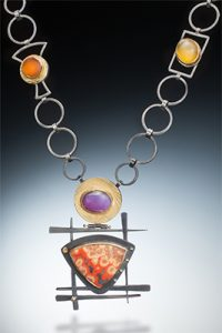 "NKL–96: Poppy Jasper, Purple, Orange, Yellow Chalcedony, oxidized sterling silver, 18k, 24k gold. Pendant 3 x 4.35 inches, chain 26 inches. $2550.00 [add_to_cart id=""747""]"