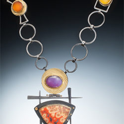 """NKL–96: Poppy Jasper, Purple, Orange, Yellow Chalcedony, oxidized sterling silver, 18k, 24k gold. Pendant 3 x 4.35 inches, chain 26 inches. $2550.00 [add_to_cart id=""""747""""]"""
