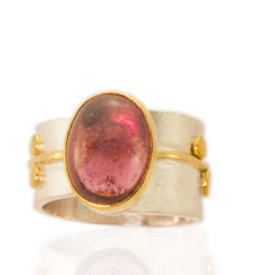 """RG–103: Rubellite, 18k 22k, 24k gold, sterling silver. Size 8.0. $1200.00 [add_to_cart id=""""775""""]"""