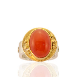 "RG–104: Orange Chalcedony, 22k,24k gold, Sterling Silver. Size 7.5. $1300 [add_to_cart id=""773""]"