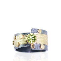 "RG–106: Peridot, 22k,24k gold, oxidized sterling silver. Size .8.25. $875.00 [add_to_cart id=""774""]"