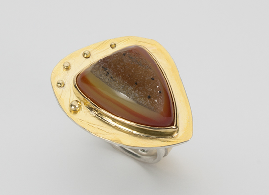 R–14: Sterling Silver, 18k gold, Orange Chalcedony Druzsy, size 8.0.