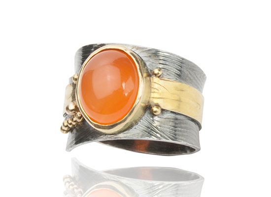 R–21: Carnelian sett in 18k gold, 22k gold fused balls and band on oxidized sterling silver. Size 7.50.