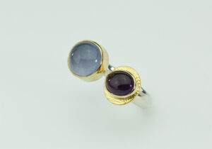 R–3: Blue Chalcedony, amethyst, 18k gold, sterling silver. Size 7.50 to 7.75. SOLD