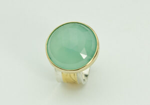R–4: Facetted Aqua Blue Chalcedony, 18k gold, sterling silver. Size 7.75.