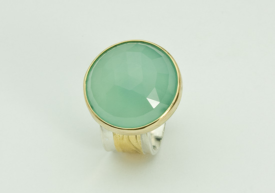 R-4-Facetted Aqua Blue Chalcedony, 18k gold, sterling silver. Size 7.75.