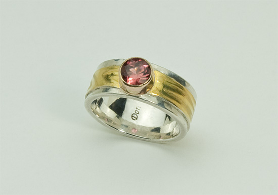 R–8: Pink Tourmaline, 18k gold, sterling silver. Size 7.50 .