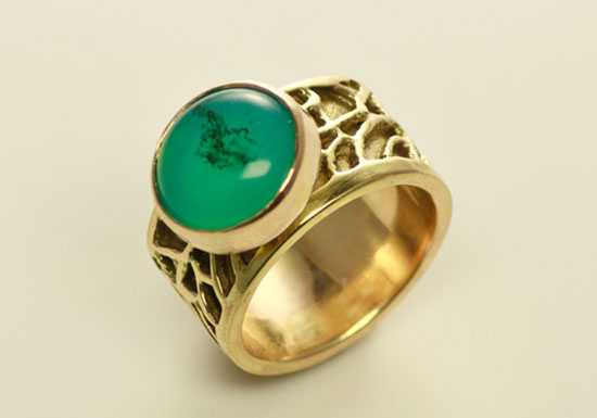 RG–1: 14k, 18k gold, Mexican opal, size 6.5 band ring. Ring shank 7/16th height. SOLD