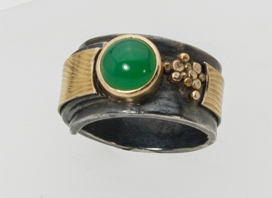 R-10-Ring, Oxidized sterling silver, 18k gold, Chrysoprase, size 7.50, SOLD