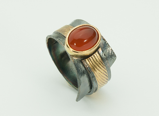 R-11-Ring, Oxidized sterling silver, 18k gold, Orange Chalcedony size 7.25