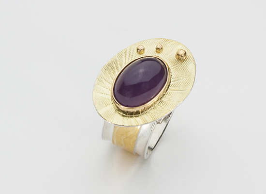 R–12: Sterling Silver, 18k gold, Purple Chalcedony, size 8.0