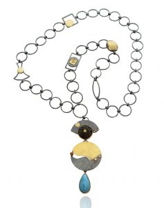 NKL–100: Turquoise, Lava Rock,Yellow Sapphire, 24 karat gold, oxidized sterling silver, 30 inches long, pendant 3 inch x 4.75 inches. $2400.00, SOLD