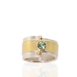 "RG–108: Green Tourmaline, 22k, 24k, 18k gold, sterling silver, Size 6.5. $700.00 [add_to_cart id=""776""]"