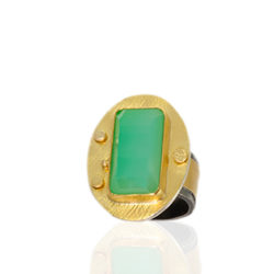 "RG–110: Australian Chrysoprase, 22k, 24k gold, oxidized sterling silver. Size 7.5. $1375.00 [add_to_cart id=""777""]"