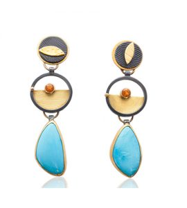 ER–144: Turquoise, facetted Mexican Opal, 14k,18, 24k gold, oxidized sterling silver. 2.25 X .25 inches post earrings. $775.00