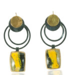 ER–148: Bubble Bee Jasper, 14k,24K gold, oxidized sterling silver, 1.75 X 1.0 inches. $325.00
