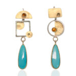 ER–155: Turquoise,Mexican Opal, Yellow Sapphires, 14k,24k gold, sterling silver, 2.25 X .50 inches. $900.00